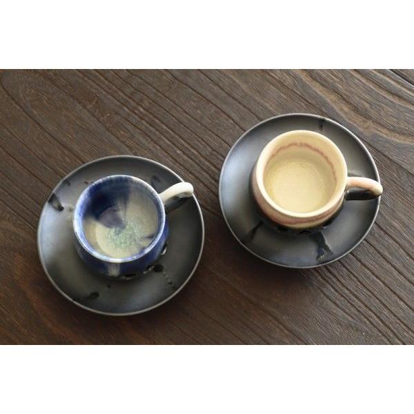 大堀相馬焼の二重コーヒーマグ【ペアセット】(ソーサー付き)