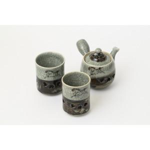お茶が冷めにくい「二重焼き」の急須・湯呑セット